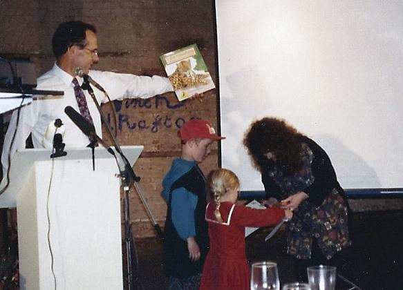 Patricia Mullins receiving her award for V for Vanishing: An Alphabet of Endangered Animals